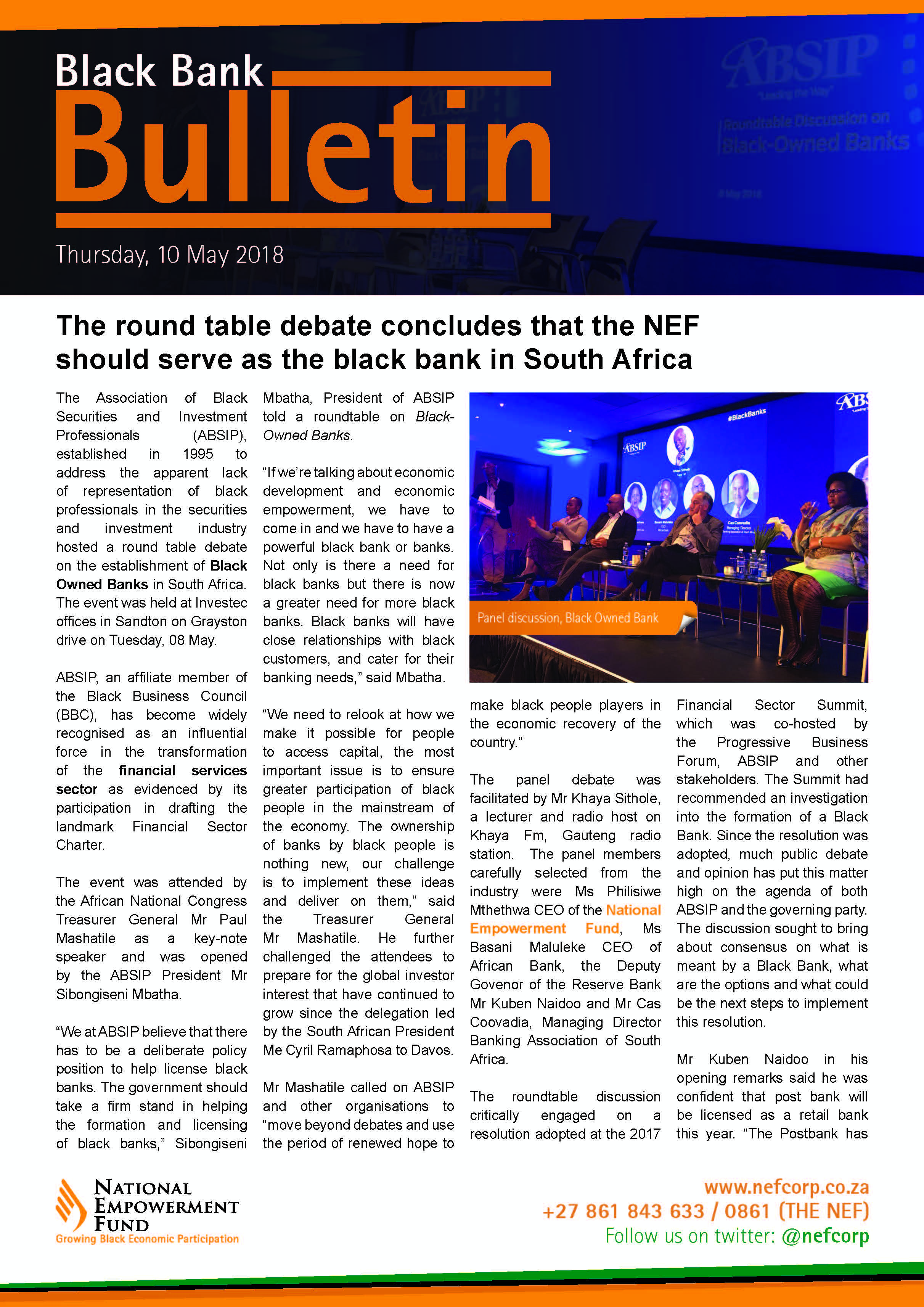 The Round Table Debate Concludes That The NEF Should Serve As The Black Bank In South Africa