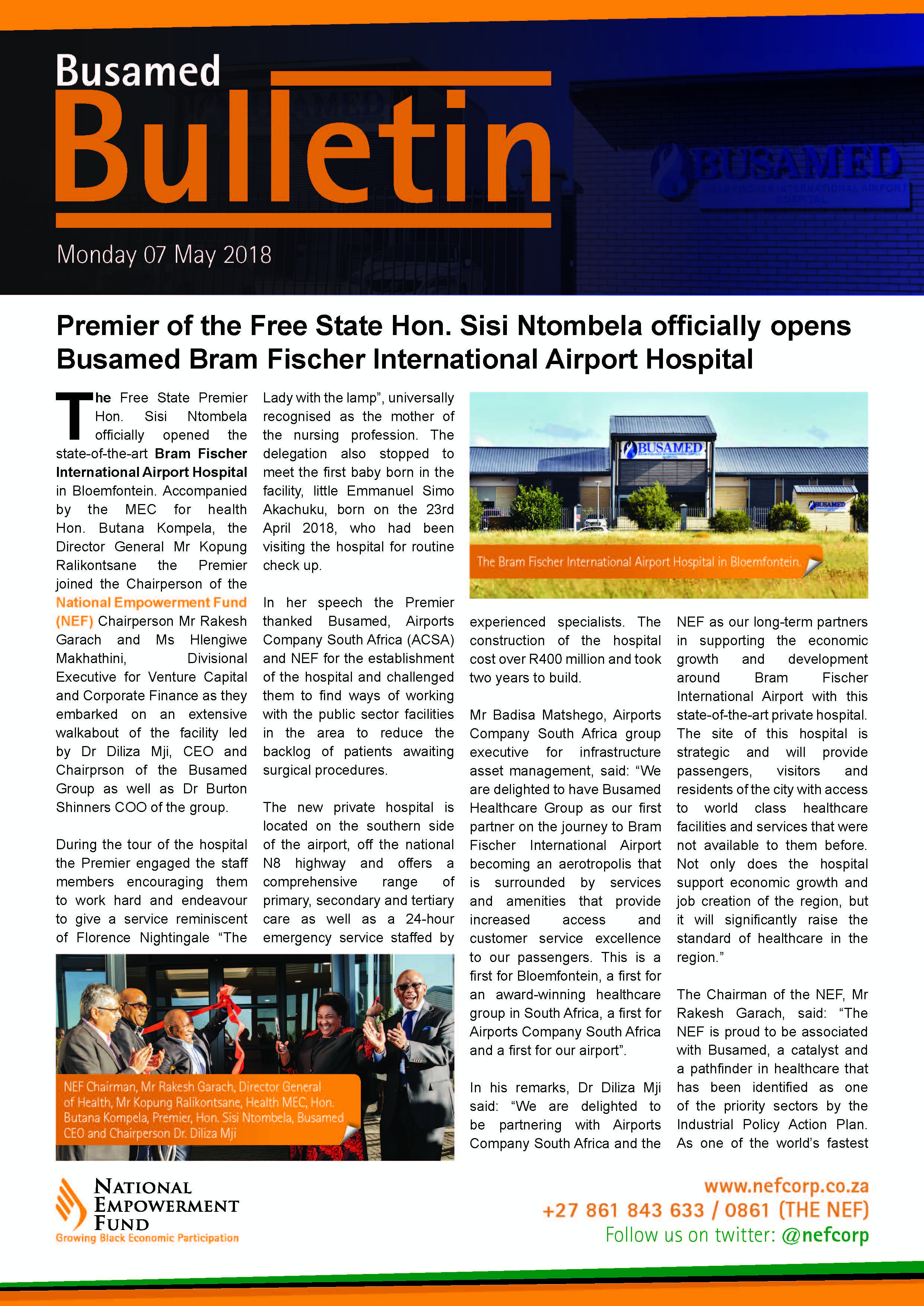 Premier Of The Free State Hon. Sisi Ntombela Officially Opens Busamed Bram Fischer International Airport Hospital