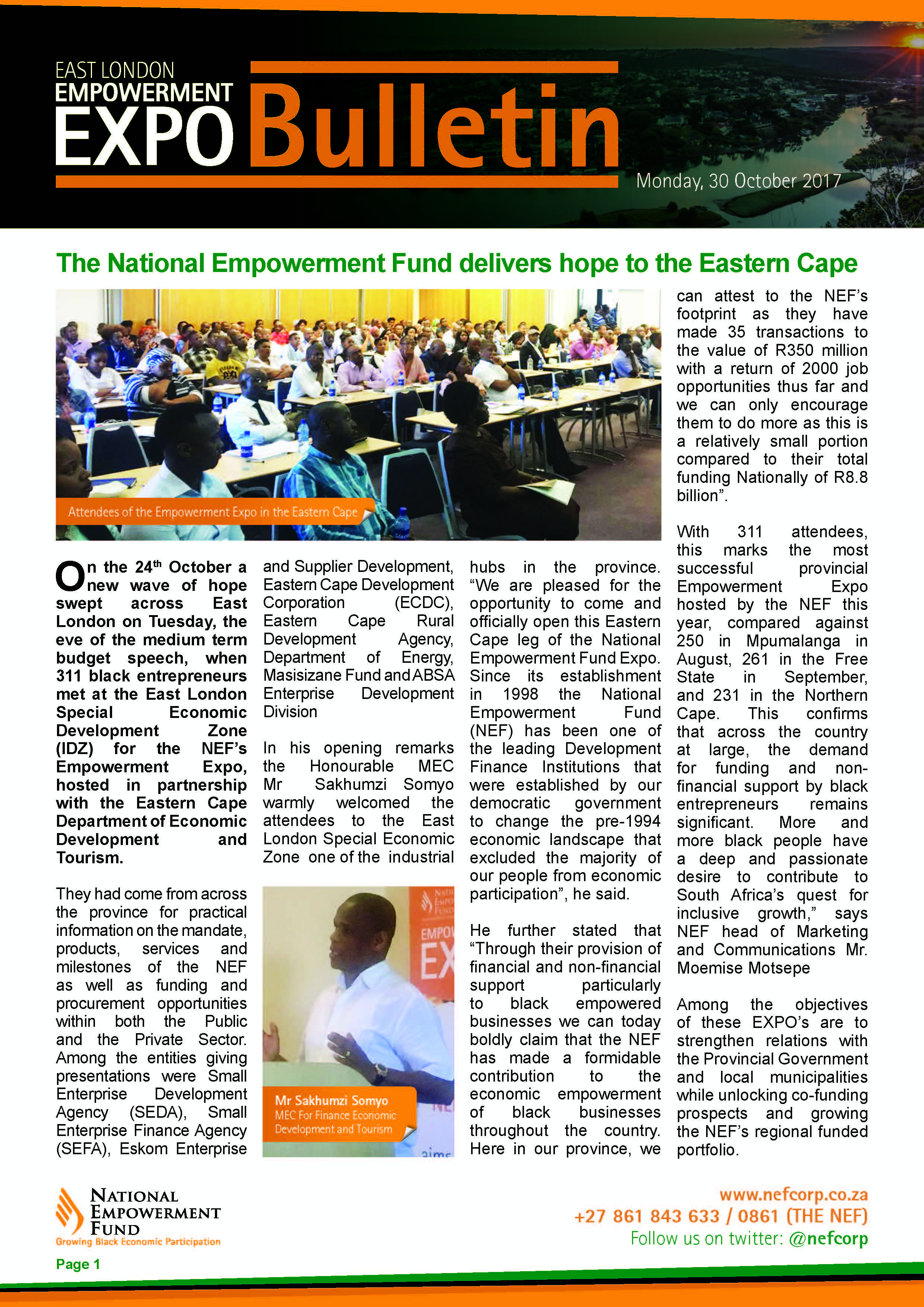 The National Empowerment Fund Delivers Hope To The Eastern Cape