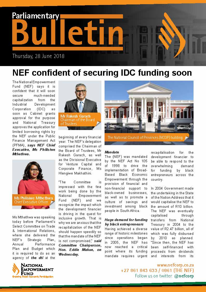 NEF Confident Of Securing IDC Funding Soon