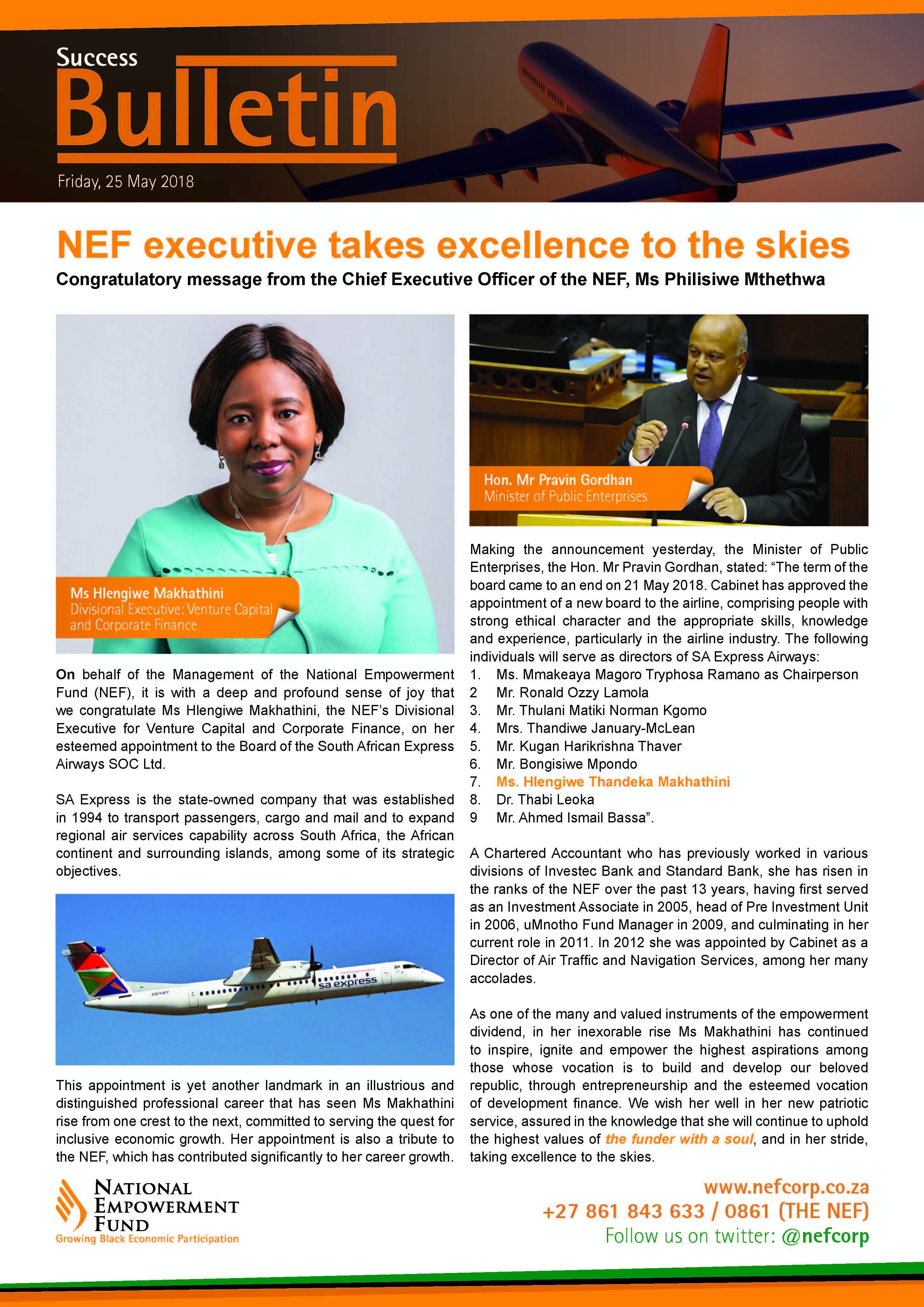 NEF Executive Takes Excellence To The Skies