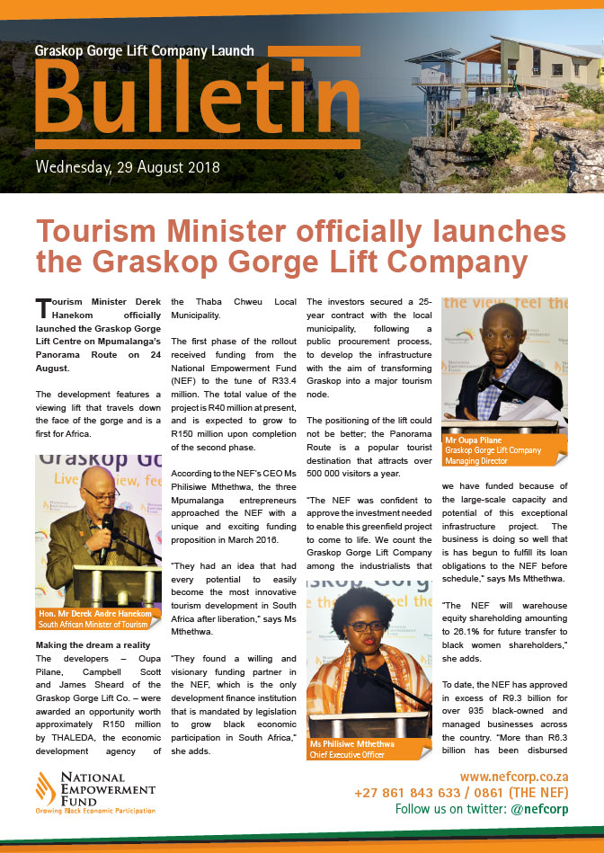 Tourism Minister Officially Launches The Graskop Gorge Lift Company
