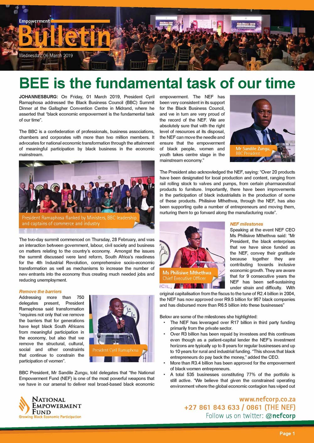 BEE Is The Fundamental Task Of Our Time