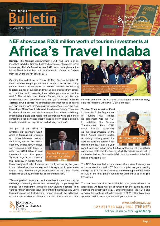 NEF Showcases R200 Million Worth Of Tourism Investments At Africa's Travel Indaba