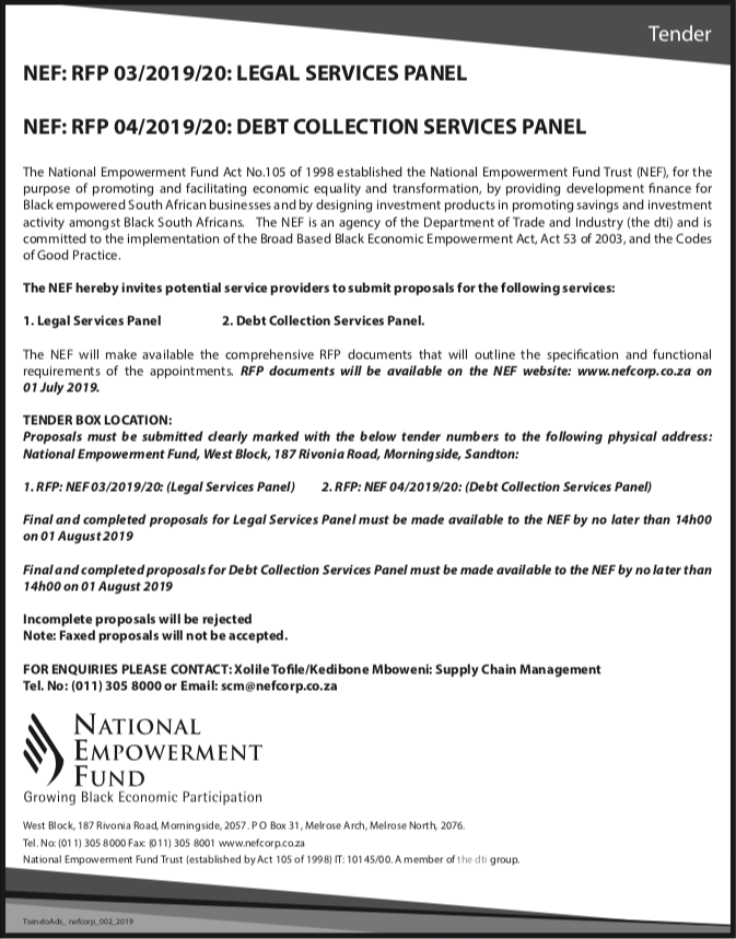Legal Services And Debt Collection Services Panel Advert
