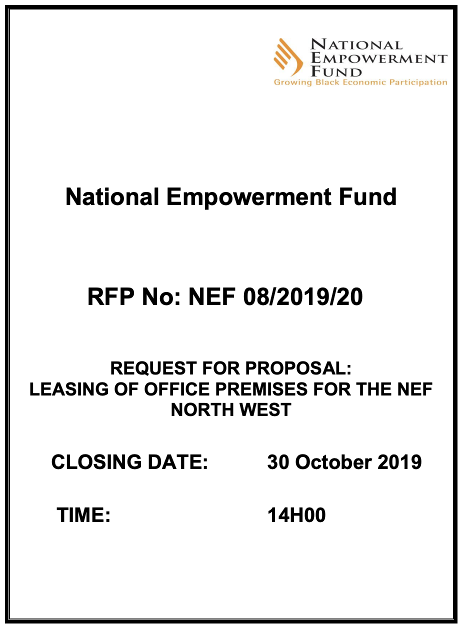 RFP 08 2019-2020 – Leasing Of Office Premises For NEF North West