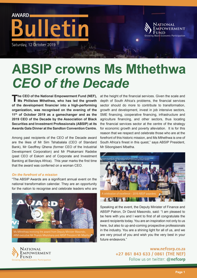 ABSIP Crowns Ms Mthethwa CEO Of The Decade