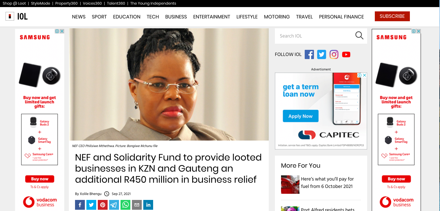 NEF And Solidarity Fund To Provide Looted Businesses In KZN And Gauteng An Additional R450 Million In Business Relief